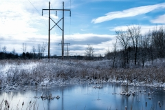 Power Lines on Bridge Road in Winter-3
